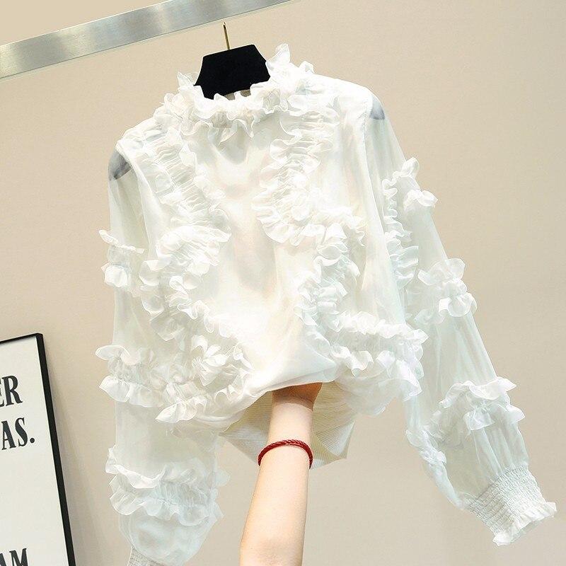 Chemise femmes 2019 nouveautés Chic mignon col montant blanc mousseline de soie Blouse lanterne manches 2 couleurs S, M, L