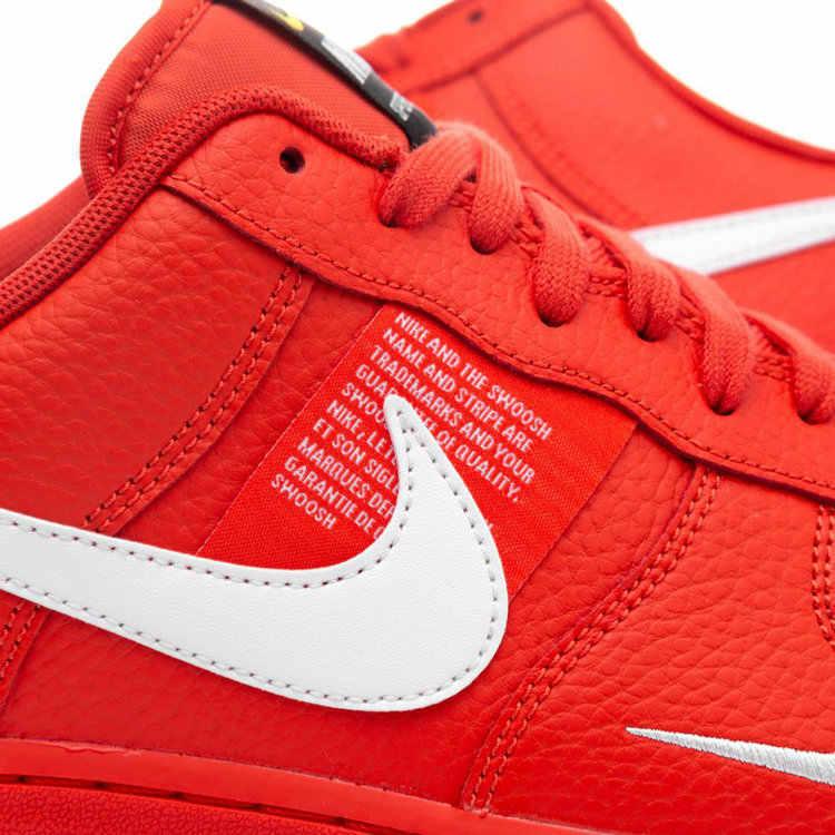 Nike Air Force 1 AF1 hommes chaussures de skateboard rouge vif déconstruction Version Simple loisirs temps baskets # AJ7747-800