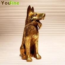 Bronze Small Size German Shepherd Indoor Desktop Decoration Dog Animal Ornament