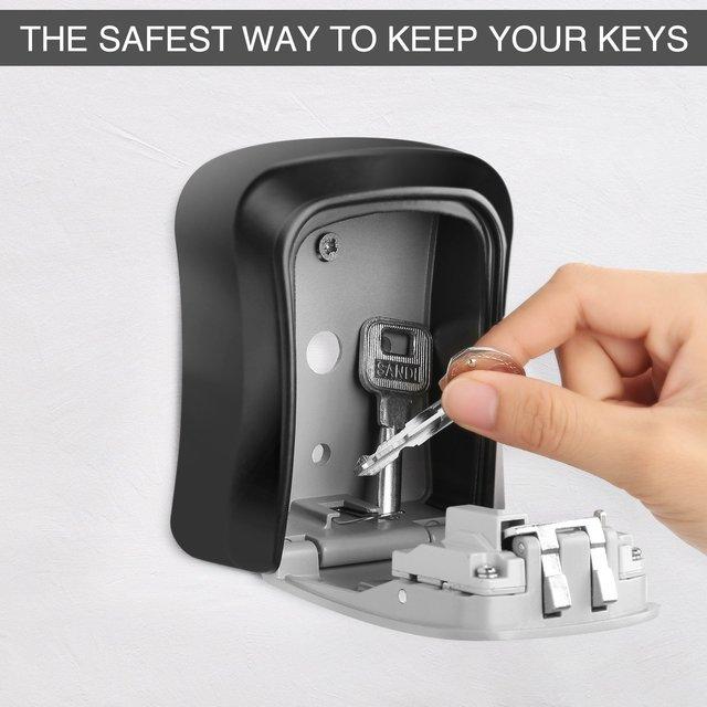MOOL Key Lock Box Wall Mounted Aluminum alloy Key Safe Box Weatherproof 4 Digit Combination Key Storage Lock Box Indoor Outdoo 4