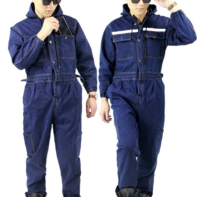 Plus Size For 6XL Winter Men Denim Working Overalls Male Work Wear Uniforms Clothes Hooded Jumpsuits For Worker Repairman 101303