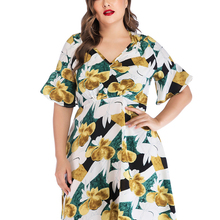 Women Dresses Summer Casual Plus Size Floral Short Sleeve V-