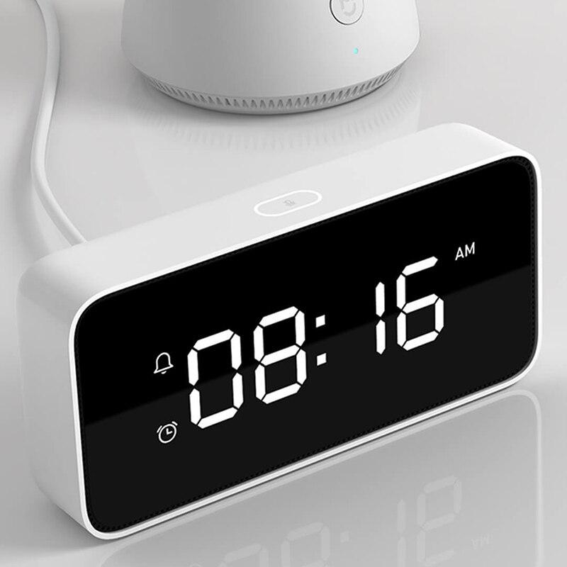 Réveil vocal intelligent diffusant des horloges de Table Dersktop ABS travail d'étalonnage automatique du temps avec l'application mi home pour Xiao mi xiaoai