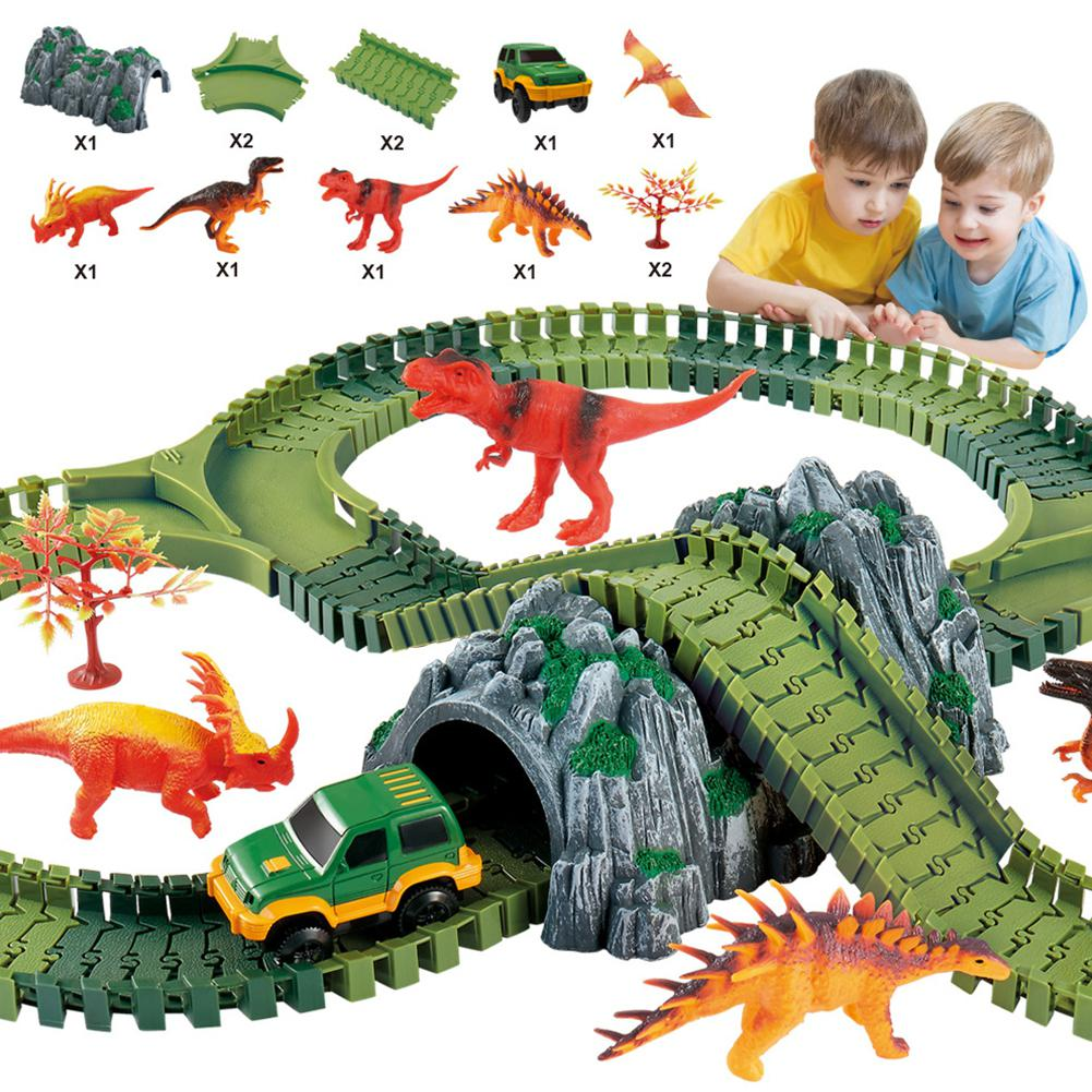 Kids Electric Dinosaur Track Assembled Toy Set With Simulate Car Door Drawbridge Random Color