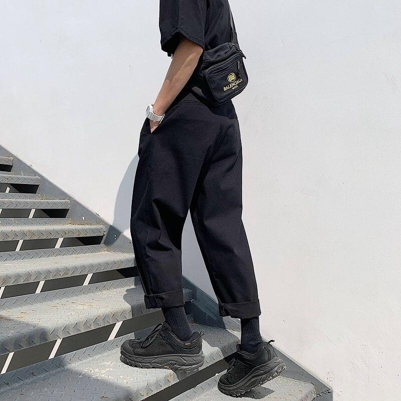 Image 4 - 2019 Mens Simple Leisure Mens Cotton Harem Pants Loose Fashion  Trend Black Color Casual Pants Male Trousers Plus Size M XL  -
