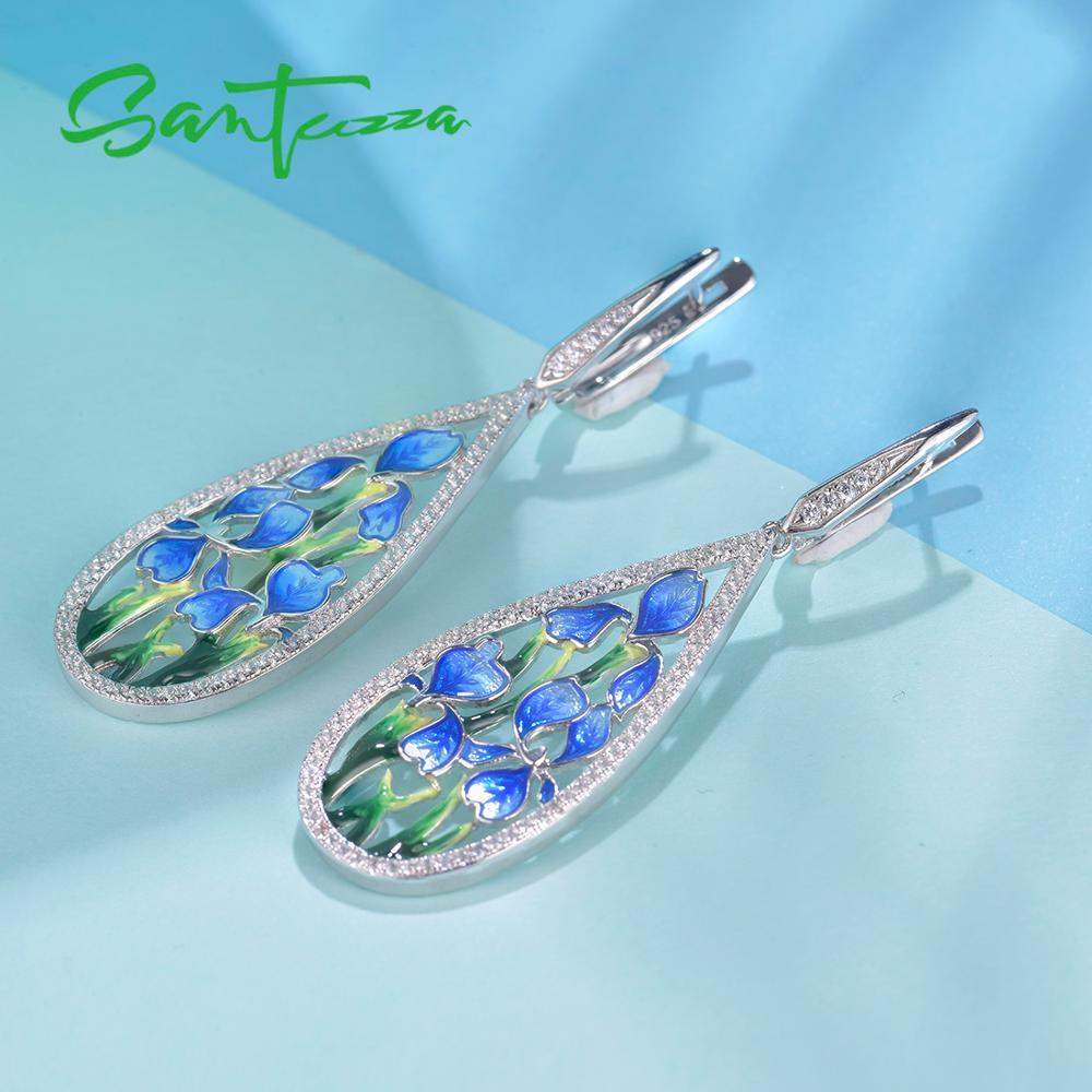 Image 4 - SANTUZZA Silver Flower Earrings For Women 925 Sterling Silver  Dangle Blue Petal Earrings Silver Shiny CZ Jewelry Handmade EnamelDrop  Earrings