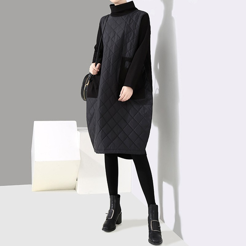 Loose Chicever Clothes Turtleneck Casual Black Patchwork Dresses Fashion Sleeve Korean Women Thick Dress Winter Warm Long Autumn AwrHAB0