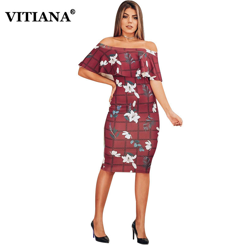 VITIANA Wemen Party Pencil Dress Female 2019 Summer Printing Off Shoulder Empire Ruffles Sheath Dresses Ladies Elegant Vestidos Price $18.19