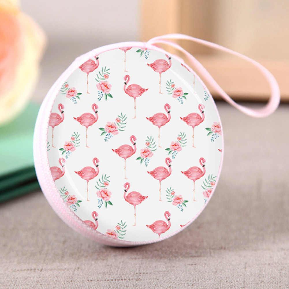 Nova Rosa Doce Flamingo Impresso Rodada Pequeno Coin Bolsas Mulheres Crianças Mini Caixa de Armazenamento Bolsa De Transporte Com Zíper Da Moeda Da Carteira Saco De Fone De Ouvido