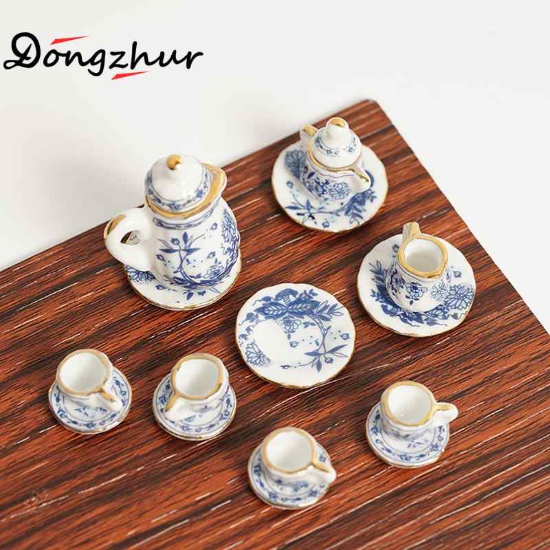 15pcs/set Baby Sets Dollhouse Miniatures 1:12 Accessories Mini Blue And White Porcelain Set Dolls House Furniture Parts