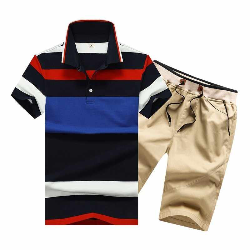 夏コットンメンズポロシャツボタンメンズセットターンダウンネック 4XL メンズショーツとポロストライプメンズ服 2 ピースセット