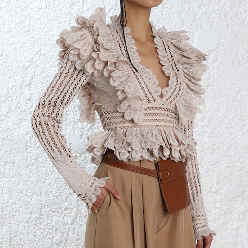 Vintage Pleated Ruffle Peplum Blouse Women Mesh Hollow Out V Neck Shirts Summer Sexy Long Sleeve Blouses Tops
