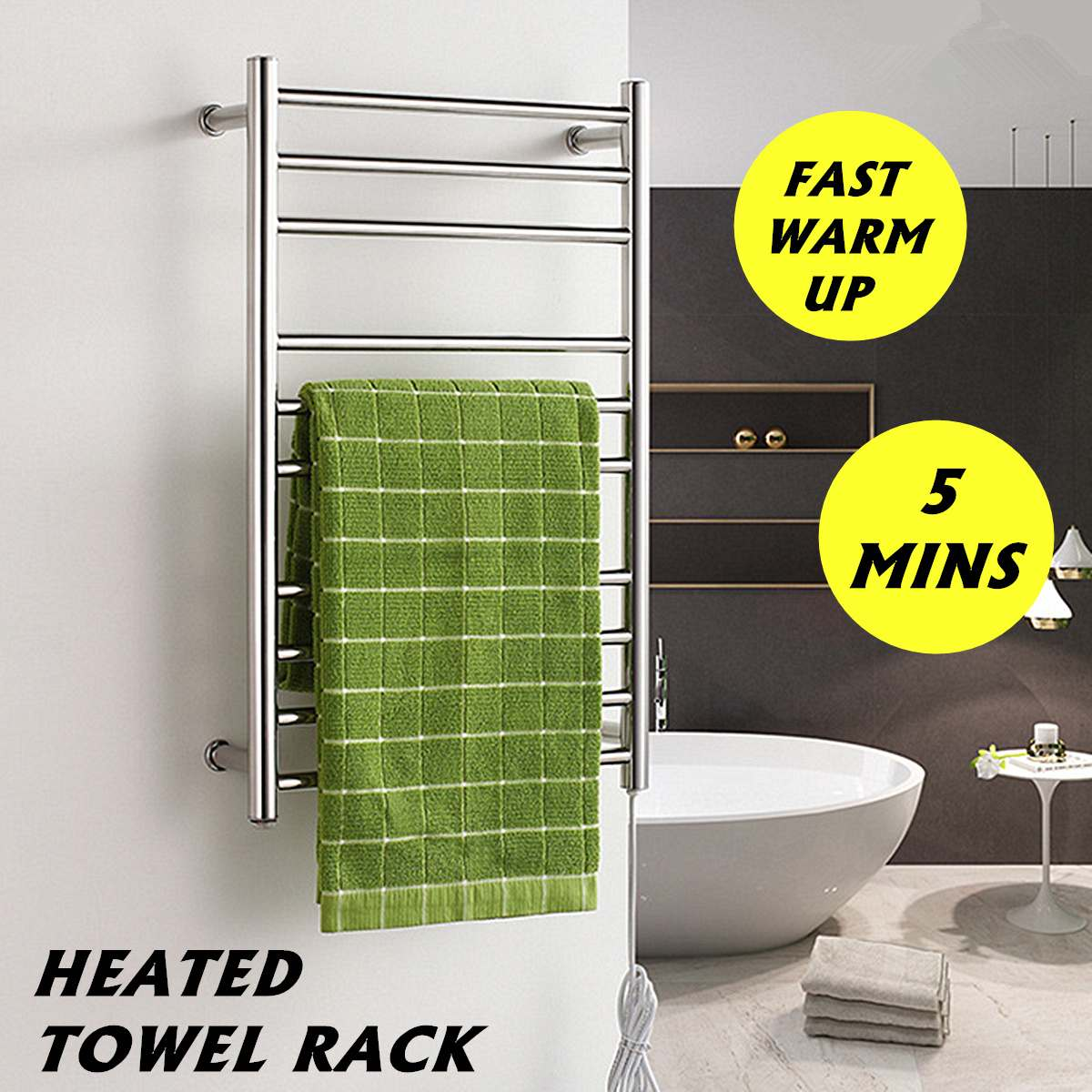 88W Stainless Steel Electric Heated Wall Mounted Towel Warmer Home Bathroom Accessories Towel Dryer Racks Heated Towel Rail88W Stainless Steel Electric Heated Wall Mounted Towel Warmer Home Bathroom Accessories Towel Dryer Racks Heated Towel Rail