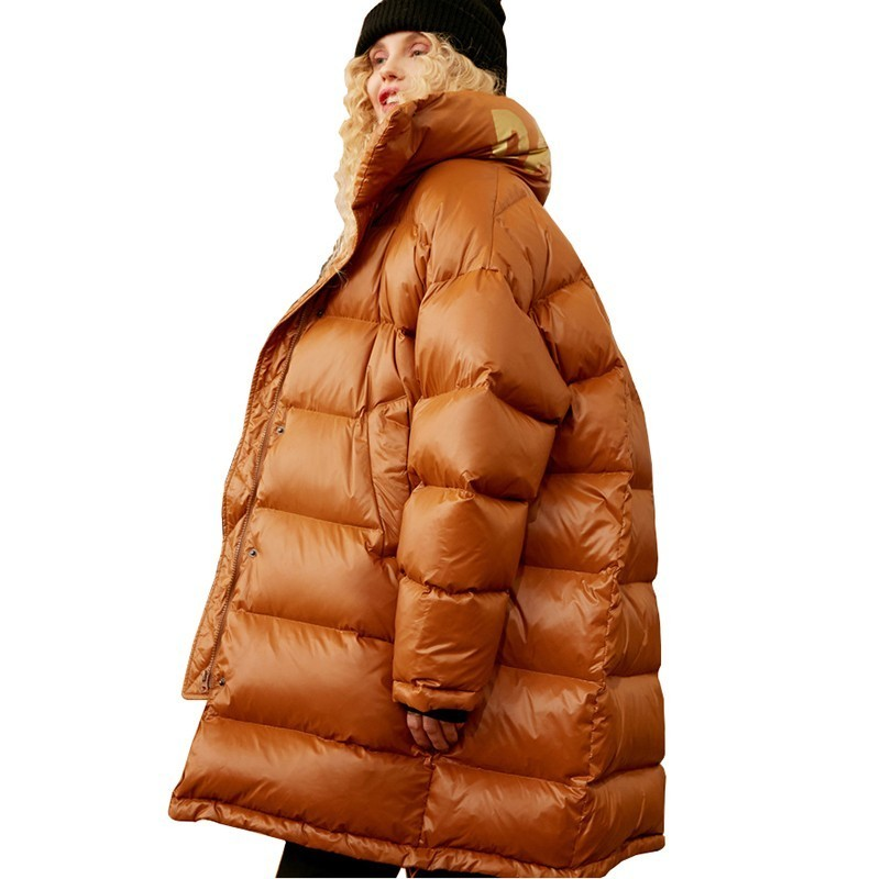 Winter   down   Long jacket Station collar brown Thick 90% White duck   down     Coat   Women Winter Parkas Loose Warm Bread Outwear PJ336