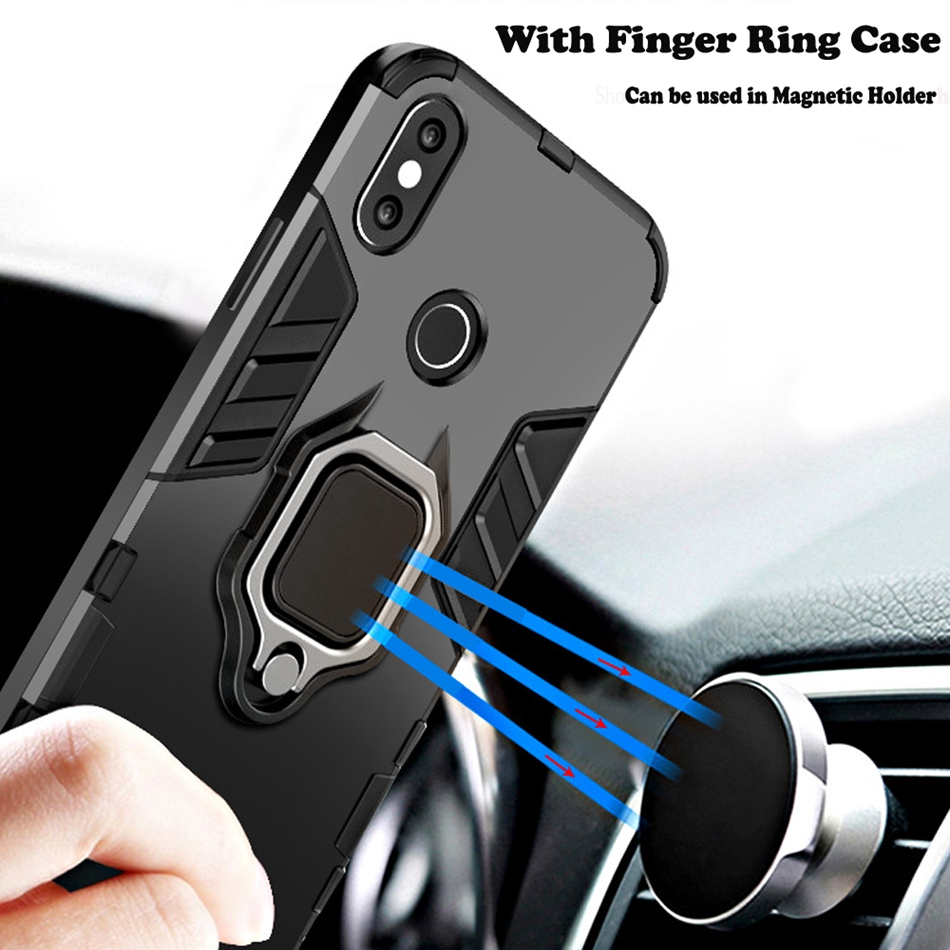 Image 4 - CASEIER Armor Shockproof Case For Xiaomi Redmi Note 7 5 8 6 Pro 4 4X 6A Finger Ring Holder Case For Xiaomi A2 MAX 3 8 9 SE Case