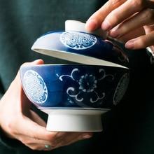 Китайский креативные столовые приборы, расписанный вручную керамический миска с крышкой риса суп с лапшой бытовой чашка для заварки чехол для столовой посуды