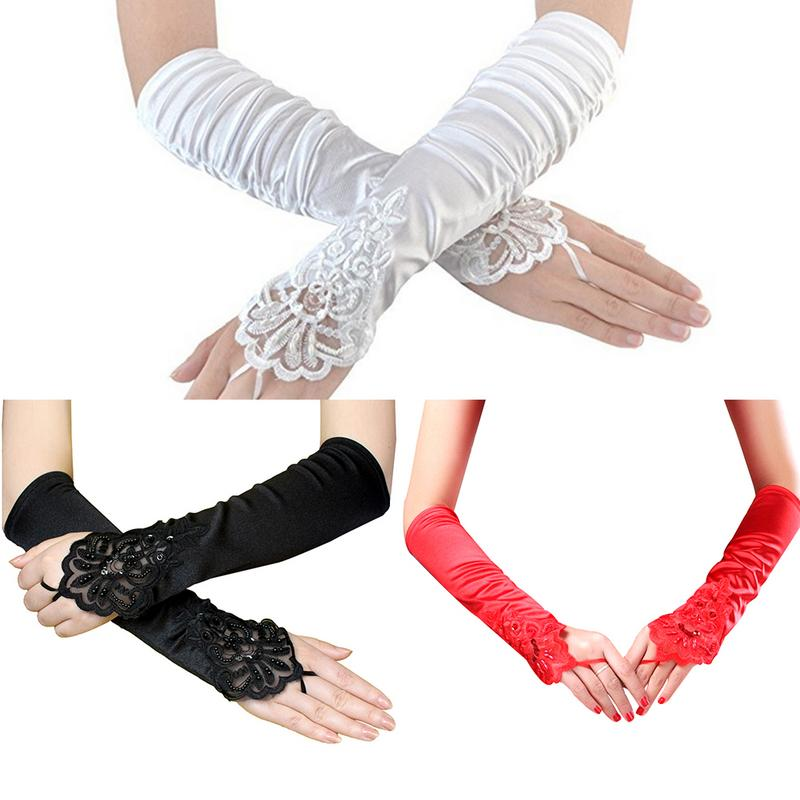 Wedding Dress Lace Gloves Long Flapper Evening Opera Satin Gloves For Women Elbow Length 1920s