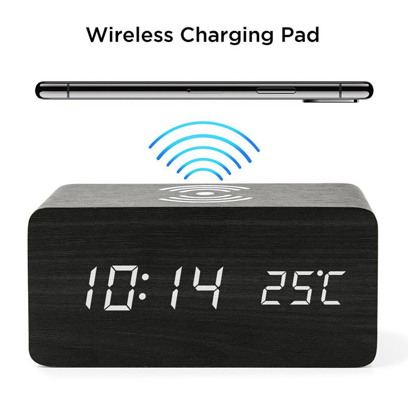 Image 2 - Wooden Alarm Clock With Qi Wireless Charging Pad Compatible With For Iphone Samsung Wood Led Digital Clock Sound Control Funct-in Alarm Clocks from Home & Garden