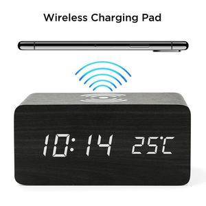 Image 2 - Wooden Alarm Clock With Qi Wireless Charging Pad Compatible With For Iphone Samsung Wood Led Digital Clock Sound Control Funct