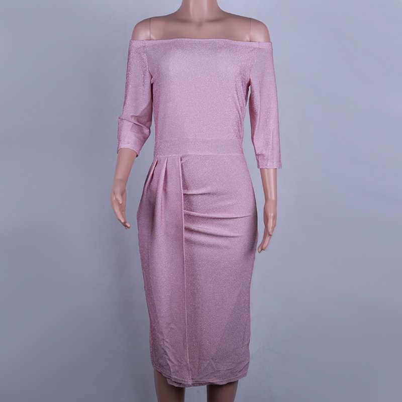 Женское элегантное длинное платье NewAsia Garden, облегающее платье с открытыми плечами, привлекательное платье с разрезом сбоку, сверкающее эластичное праздничное бандажное платье с рукавом 3/4