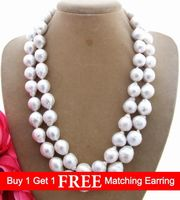 Lii Ji Natural 2 row Freshwater Pearl 11 12mm beads 925 sterling silver Necklace 17