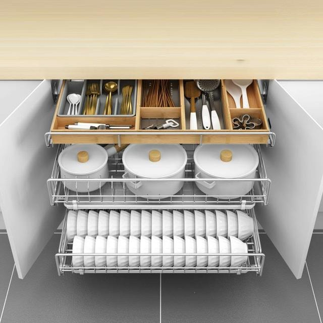 Organizar Para Almacenaje Armario Platos Pantry Dish Drainer Stainless Steel Organizer Rack Kitchen Cabinet Storage Basket