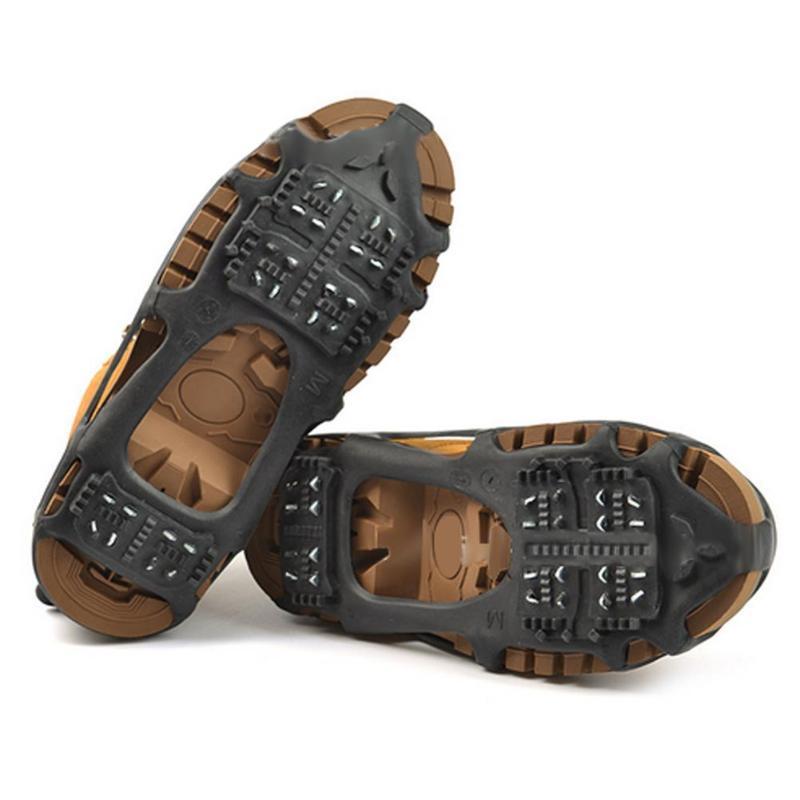 24 diente hielo Gripper Spike para los zapatos al aire libre antideslizante escalada picos de nieve crampones tacos cadena garras Grips cubierta botas