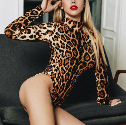 2020 New Summer Women Leopard Bodysuit Top Jumpsuit Slim Shirt Blouse Sexy Bodysuit Clothes Outfits