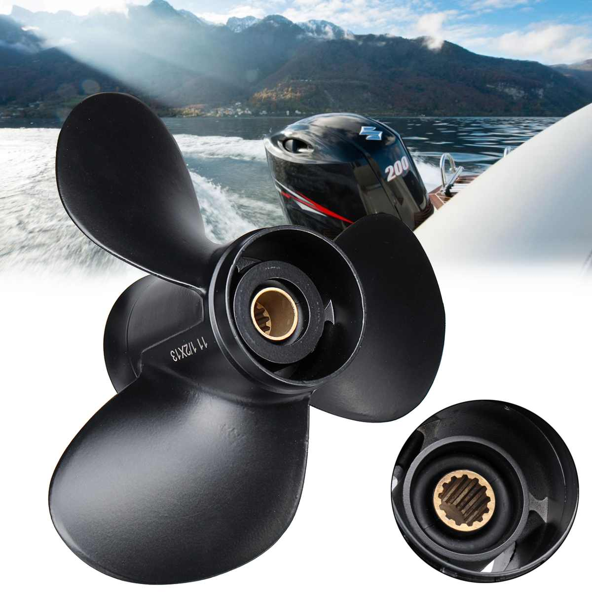 58100-94313-019 11 1/2 x 13 Boat Outboard Propeller Aluminum Alloy For Suzuki 35-65HP Black 3 Blades 13 Spline Tooth R Rotation58100-94313-019 11 1/2 x 13 Boat Outboard Propeller Aluminum Alloy For Suzuki 35-65HP Black 3 Blades 13 Spline Tooth R Rotation