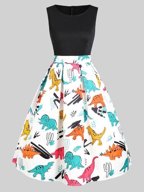 Wipalo Vintage Women Dinosaur Print Sleeveless A Line Dress Summer New Fashion O Neck Knee Length Dress Vestidos Women Clothings 1