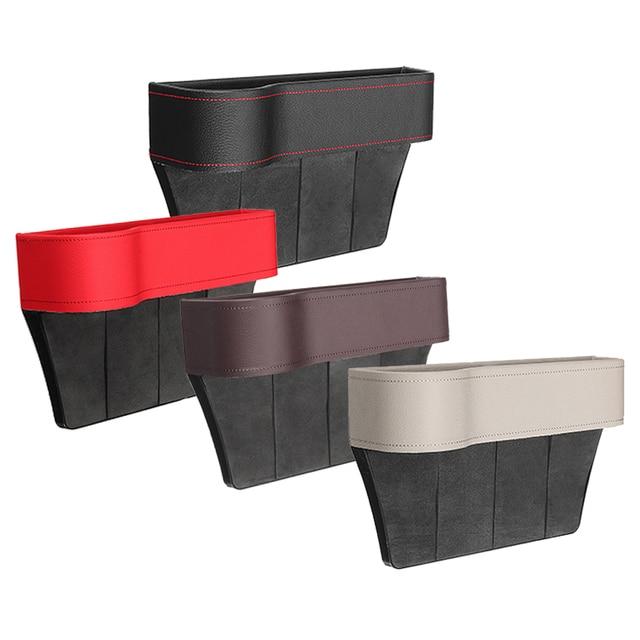 Left/Right Universal Pair Passenger Driver Side Car Seat Gap Storage Box for Pocket Organizer Phone Holders Black/Beige/Red 3