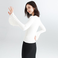 New sweater women's 2019 new sweater thick section trumpet sleeves bottom knit sweater ladies autumn and winter