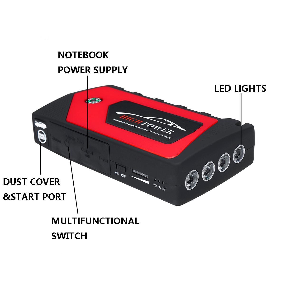82800 mAh 4 USB voiture saut démarreur Pack chargeur Portable Booster batterie externe Battery82800mAh 4 USB voiture J - 3
