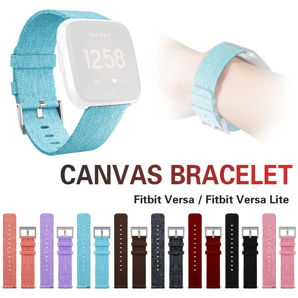 Image 2 - Bracelet Replacement Wristband Watch Band Premium Canvas Strap Clasp For Fitbit Versa Fitbit Versa Lite Smartwatch High Quality-in Smart Accessories from Consumer Electronics