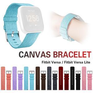 Image 2 - Pulsera de repuesto correa de reloj banda de lona Premium Cierre de correa para Fitbit versal Lite Smartwatch de alta calidad