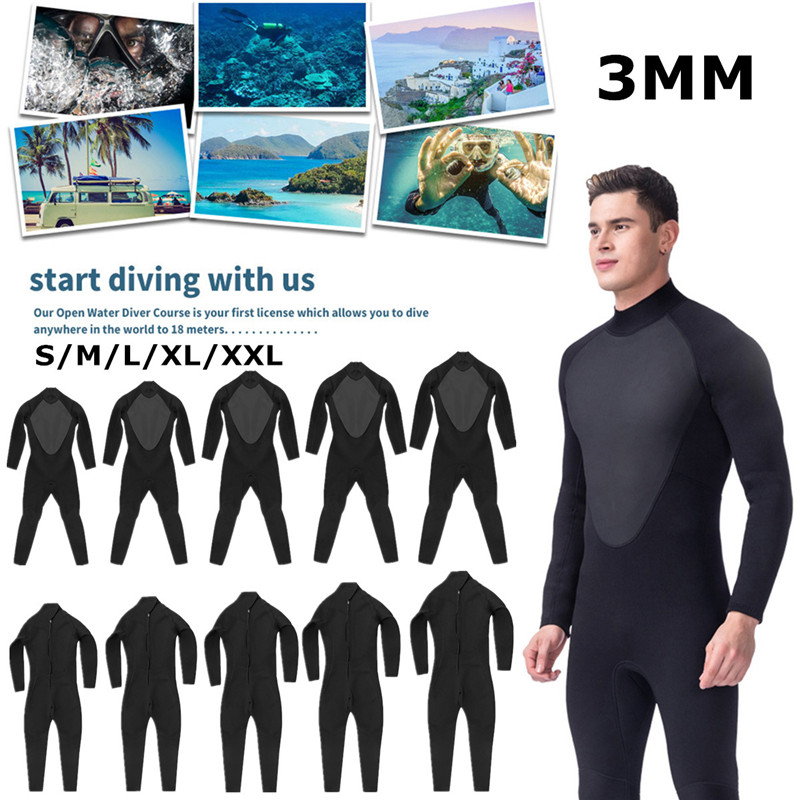 3 MM para hombre traje de S-XL completa mono Super elasticidad traje de buceo para nadar surf snorkel elástico ajustable de tela caliente