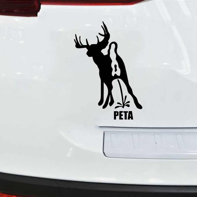 WHITE Vinyl Decal PETA FUNNY deer hunt Fun hunting sticker