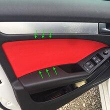 4 sztuk skóra z mikrofibry do stylizacji wnętrza samochodu panel drzwi listwa wykończeniowa dla Audi A4 2009 2010 2011 2012 2013 2014 2015 2016