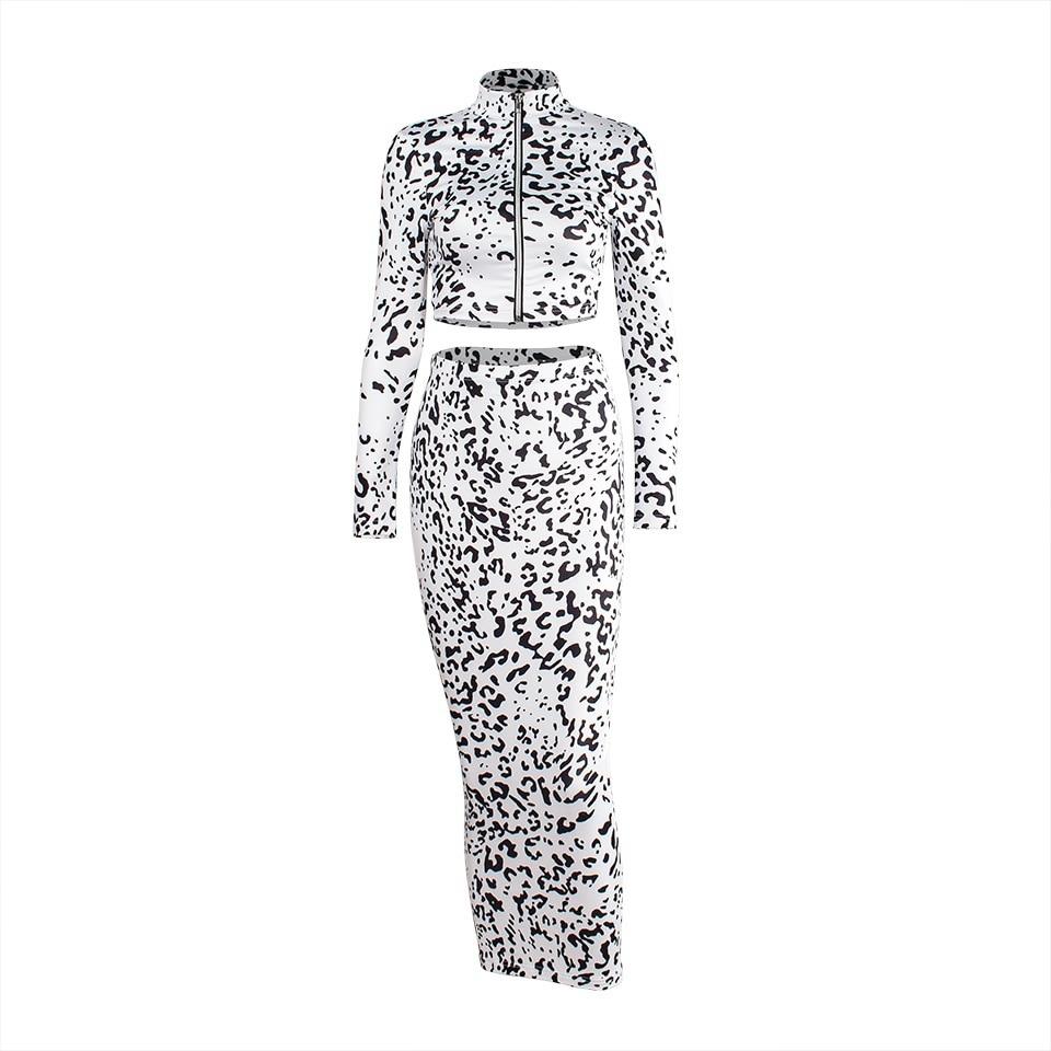 Women s Sexy 2 Pieces Dress Set White Leopard Print Zipper Two Piece Long  Sleeve Bodycon Crop Tops+Midi Pencil Skirt Set Vestido-in Women s Sets from  ... 37d97b527