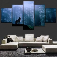 Canvas Painting Modern Wall Art Decorative One Set 5 Panels Timberwolves Figure For Living Room Home Decor Animal Poster Frame(China)