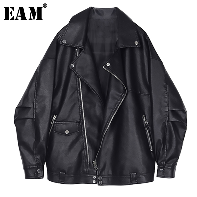 [EAM] 2020 New Spring Autumn Lapel Long Sleeve Black Loose Pocket Cool Pu Leather Big Size Jacket Women Coat Fashion Tide JQ032
