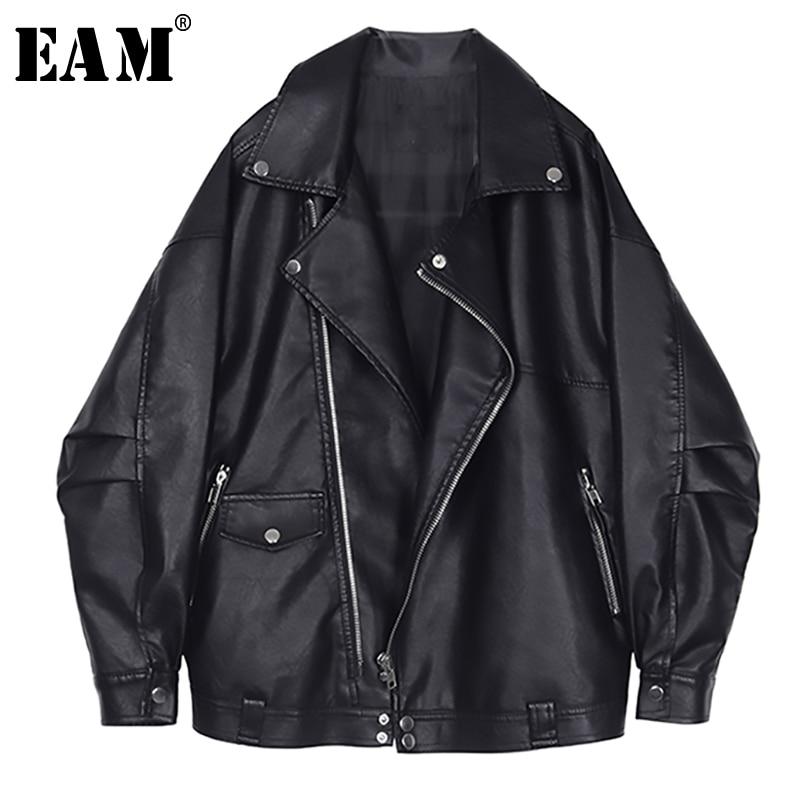 [EAM] 2020 New Spring Autumn Lapel Long Sleeve Black Loose Pocket Cool Pu Leather Big Size Jacket Women Coat Fashion Tide JQ032