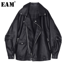 [EAM] 2020 New Spring Autumn Lapel Long Sleeve Black Loose Pocket Cool Pu Leather Big Size