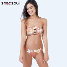 Floral Bandeau Sexy Women Bikini Set Low Waist Thong Striped Swimsuit 2019 Female Swimwear Tanga Bathing Suit