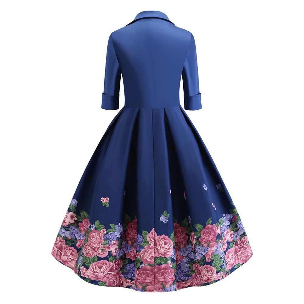 2019 весеннее женское винтажное платье трапециевидной формы с цветочным принтом, голубое джинсовое платье с отложным воротником и рукавами 3/4, ТРАПЕЦИЕВИДНОЕ ретро платье