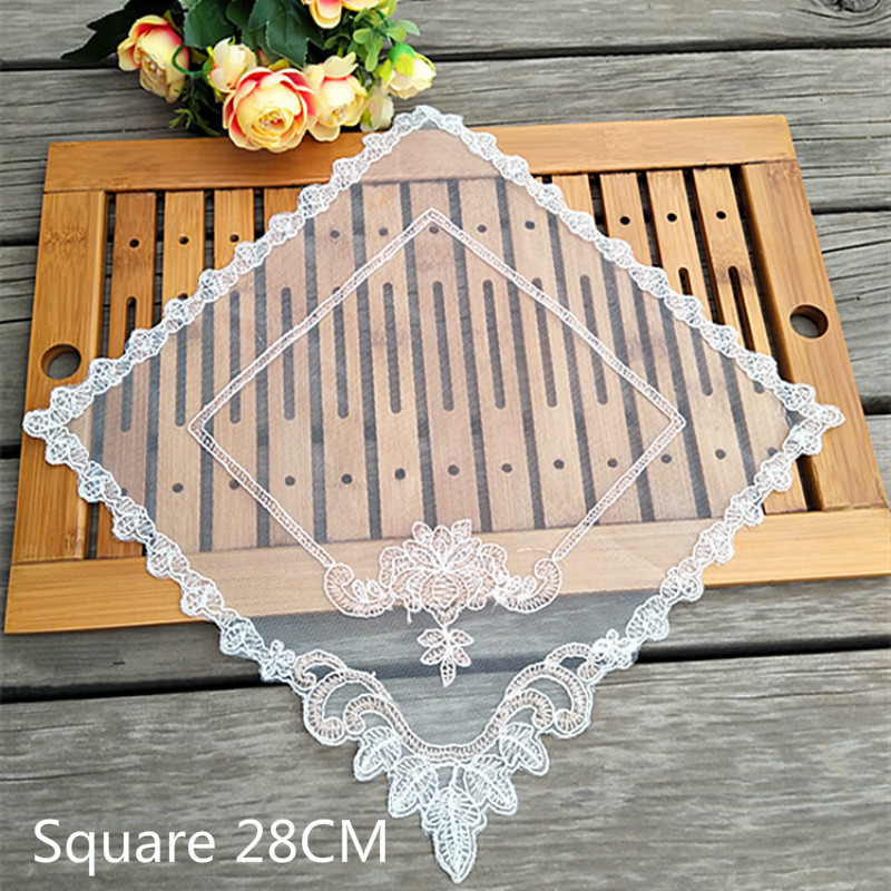 Luxury Tulle Lace Square Placemat Dining Doily Glass Coaster Cup Mat Dish Pad Table Cover Transparent Wedding Banquet Home Decor