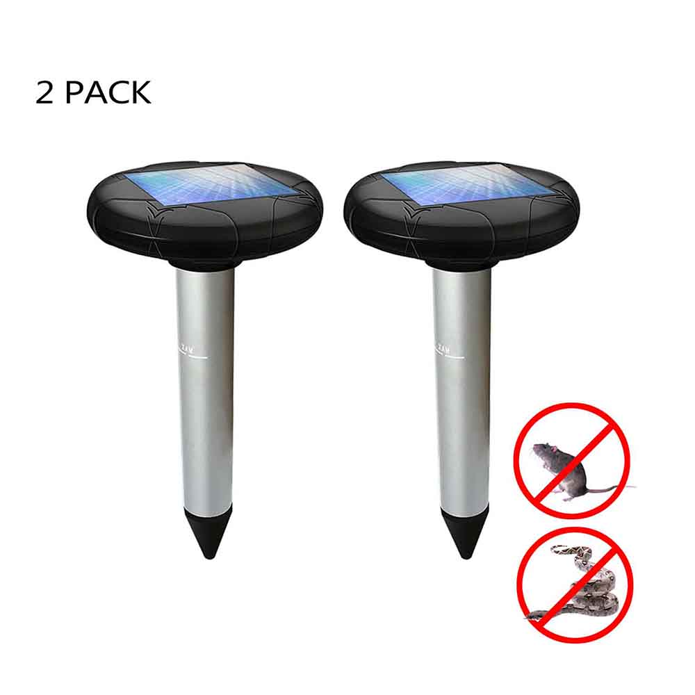 2Pcs New Solar Power Repellent Mole Snake Bird Mosquito Mouse Ultrasonic Animal Pest Repeller Outdoor Garden Vibration Deworming