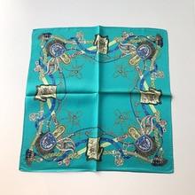 Leayh Brand100% Silk Twill 53*53 Square Scarf For Women 2019 New Fashion Headband Ring String Print Scarves Hijab