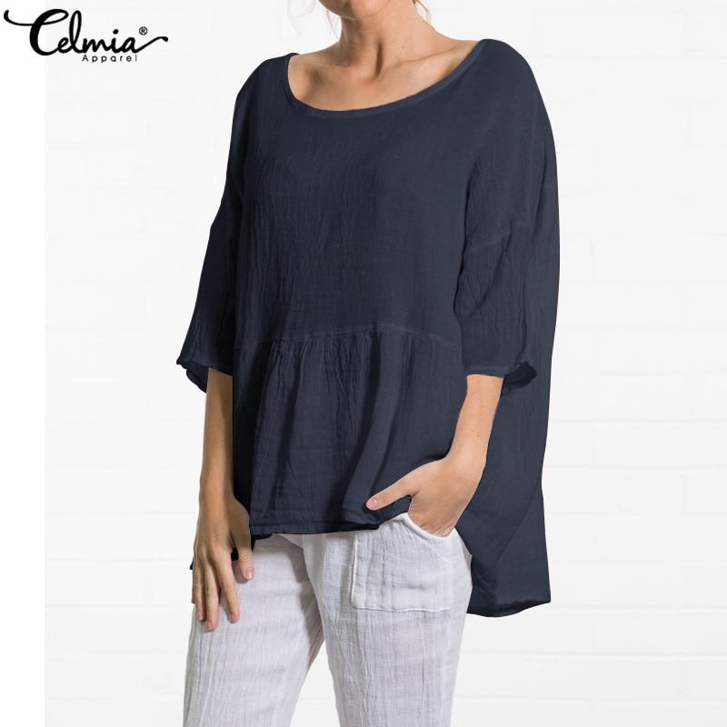 Celmia Women Vintage Linen Blouses 2019 Summer Plus Size Pleated Tunic Tops Half Sleeve Shirts Casual Loose Asymmetrical Blusas
