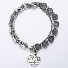 Round Charm Bracelet for Men Stainless Steel Map Stone Bead Silver Chain Rolo Link Mens Womens Bracelets Wholesale Gifts DDB43(China)